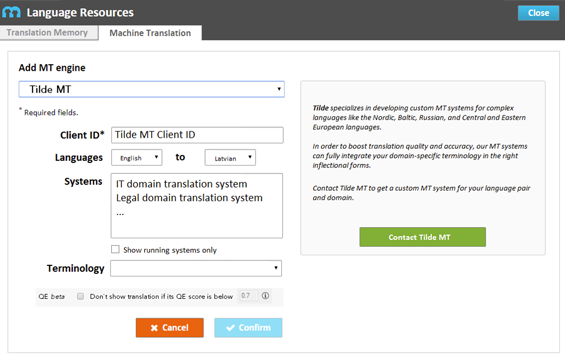Tilde machine translation for CAT tools