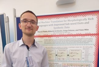 Mārcis Pinnis at TSD 2017 conference presenting paper on neural machine translation
