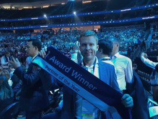 "Arturs Vasilevskis of Tilde at the ""Microsoft Inspire"" conference in Las Vegas"
